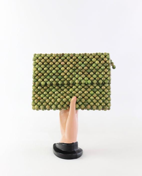 1950s Wood Bead Purse - 50s Green Bead Purse - 195