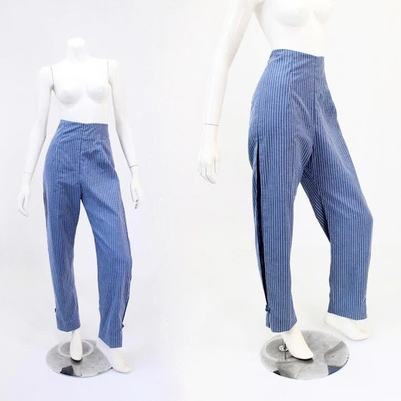 RARE - 1950s Chambray Trousers - 50s Womens Trouse