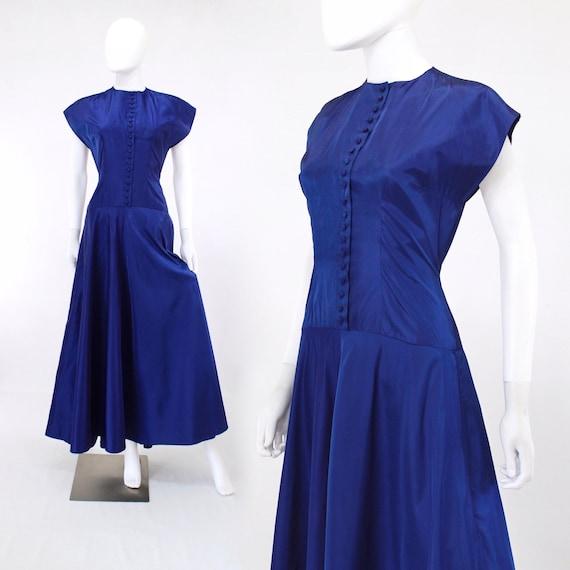1940s Cobalt Blue Taffeta Gown - 1940s Blue Evenin