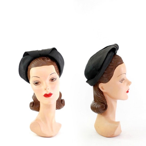 1930s Black Straw Shell Cap - 1930s Halo Hat - 193