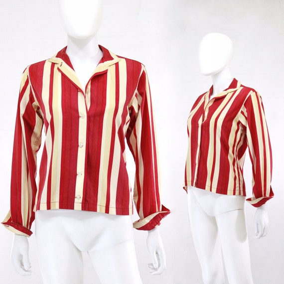 1950s Crimson Red Striped Blouse - 1950s Womens Bl