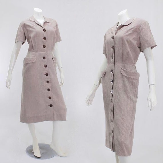 1950s Day Dress - 1950s Houndstooth Dress - 1950s