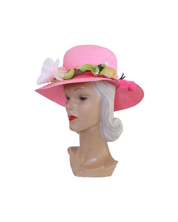 1960s Pink Straw Sun Hat - Vintage Pink Sun Hat -… - image 9