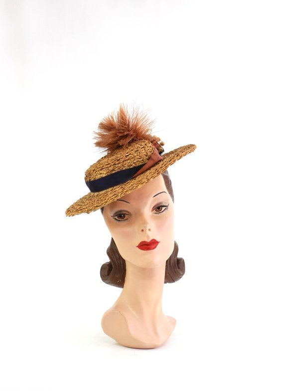 RESERVED | 1940s  Straw Tilt Hat - 1940s Autumn T… - image 2