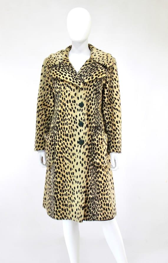 1960s Leopard Print Faux Fur Coat - Vintage Leopa… - image 5