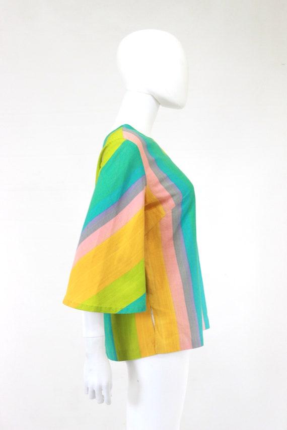 1960s Rainbow Tunic Blouse - 1960s Angel Sleeves … - image 8