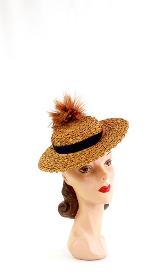 RESERVED | 1940s  Straw Tilt Hat - 1940s Autumn T… - image 3