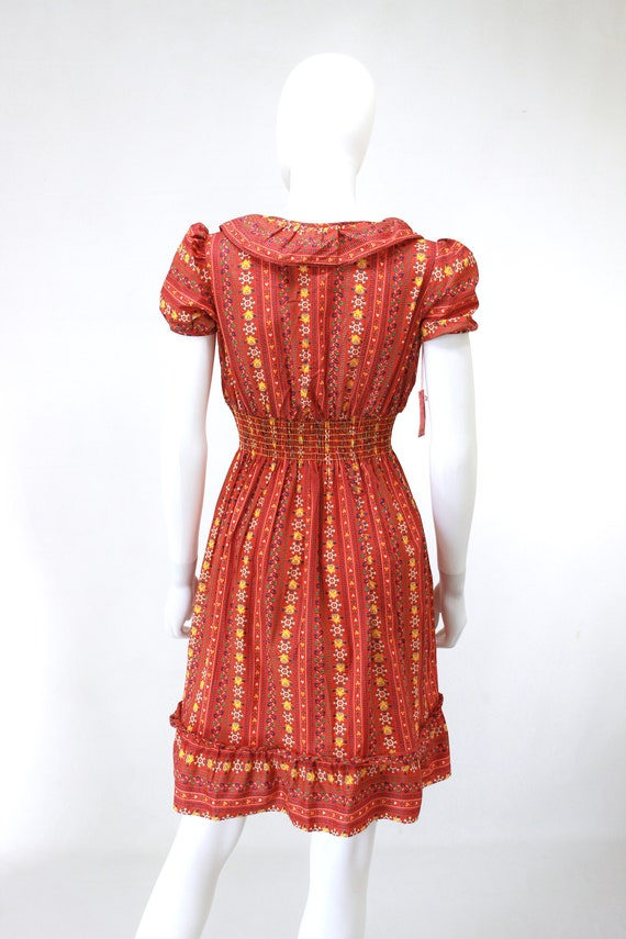 DEADSTOCK 1940s Puff Sleeve Dress - 40s Cotton Dr… - image 10