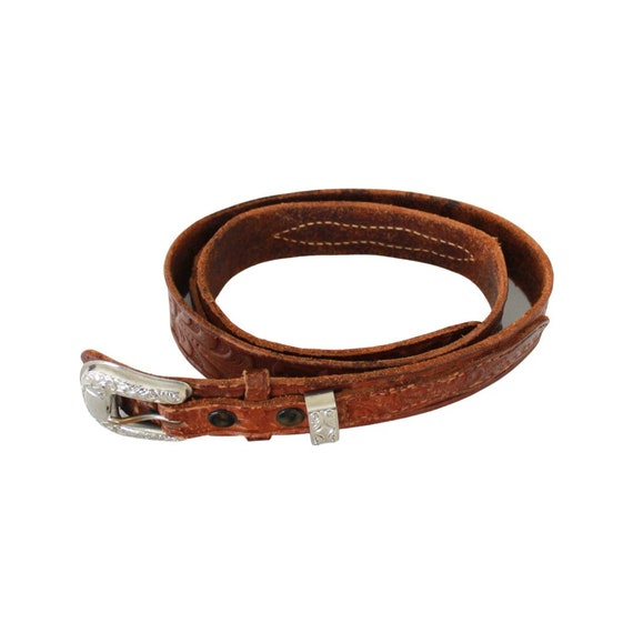 1940s/50s Tooled Leather Belt - 1950s Leather Bel… - image 2