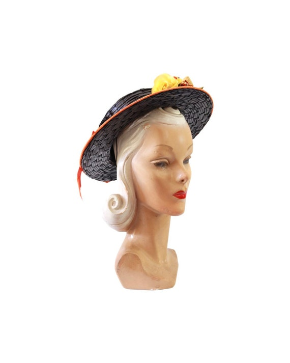 1940s Autumn Boater Hat - 1940s Navy Blue Hat - 1… - image 8