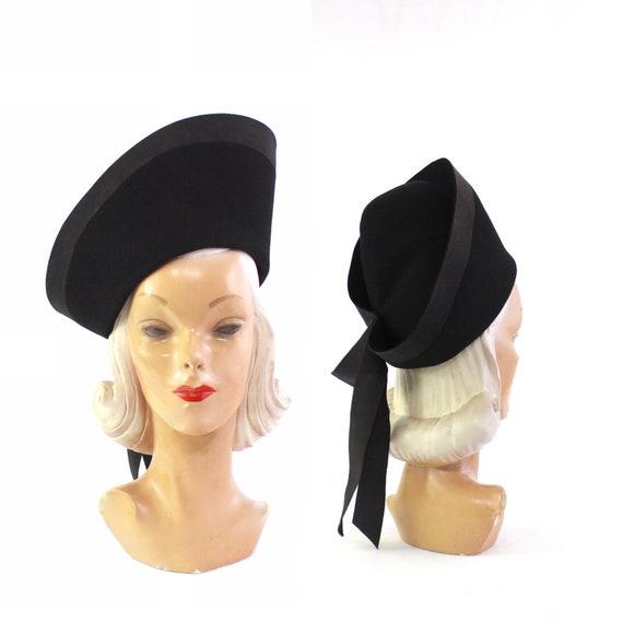 RESERVED | 1930s Black Large Toque Tilt Hat - 1930