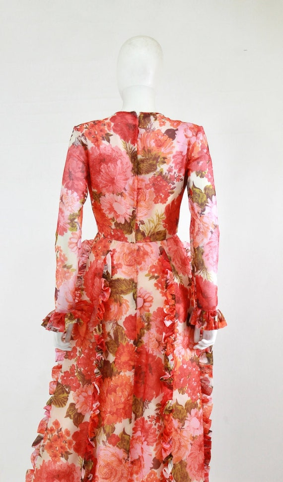 1970s Rose Print Ruffle Maxi Dress - 1970s Rose P… - image 9