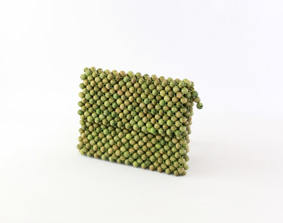1950s Wood Bead Purse - 50s Green Bead Purse - 19… - image 3