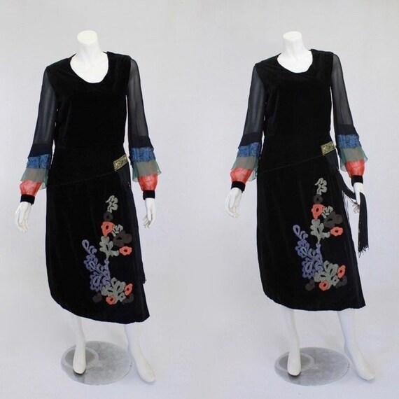 1920s Dress - Two Piece Black Velvet Art Deco Dres