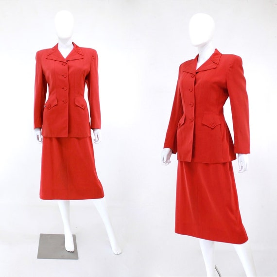 1940s True Red Wool Gab Suit - 1940s Red Suit - 1… - image 1