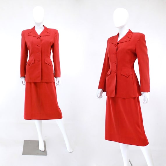 1940s True Red Wool Gab Suit - 1940s Red Suit - 19