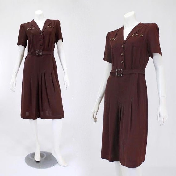 1940s Puff Sleeve Dress - 1940s Day Dress - 1940s