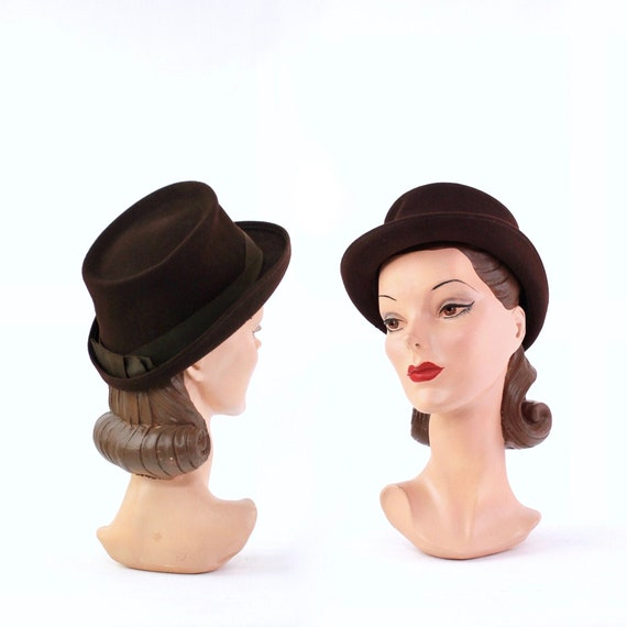 1940s Chocolate Brown Suiter Hat - 1940s Womens Br