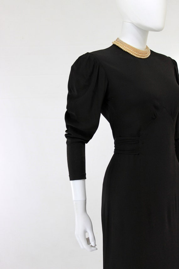 Late 1930s Black Crepe Dress with Pearl Collar - … - image 8