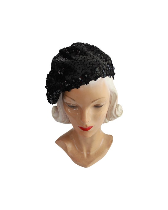 1970s Sequin Slouch Beret - 1970s Black Sequin Be… - image 2