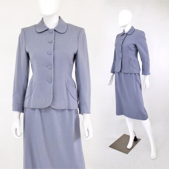 1950s Cornflower Blue Wool Suit - 1950s Blue Suit