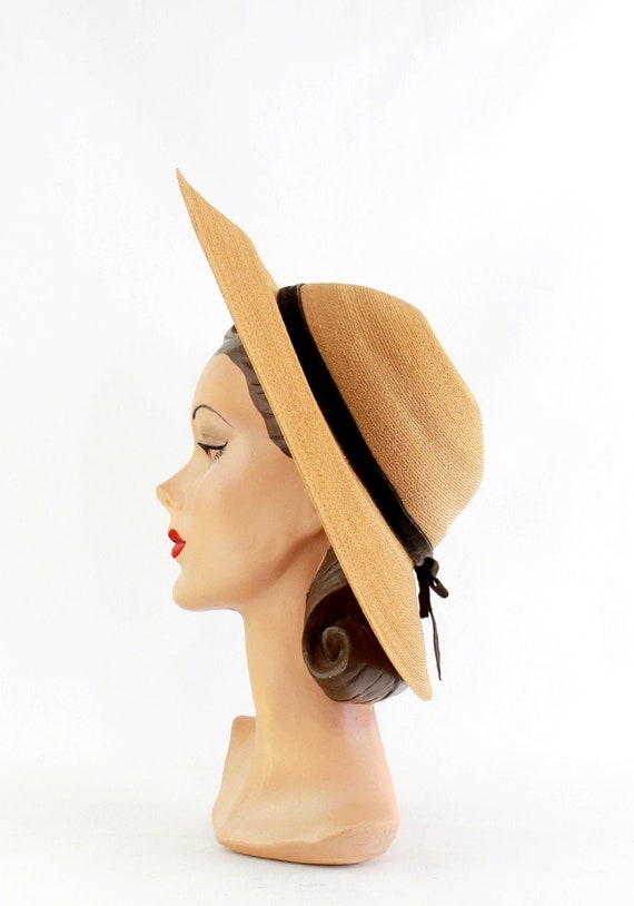 1940s Natural Straw Platter Sun Hat - 1940s Straw… - image 8