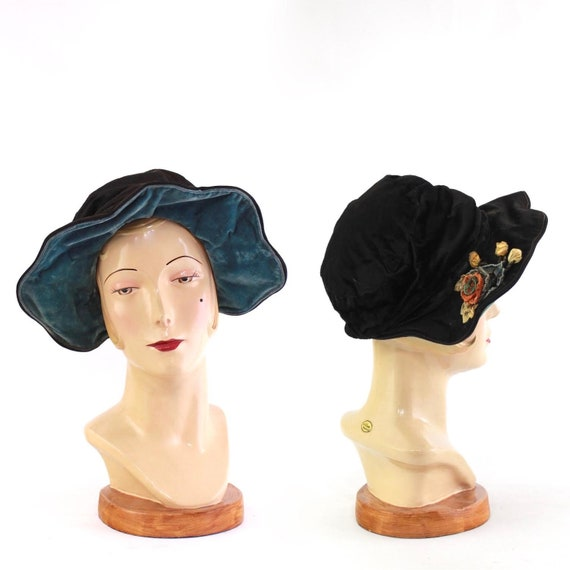1920s Velvet Scalloped Brim Bonnet - 1920 Velvet C