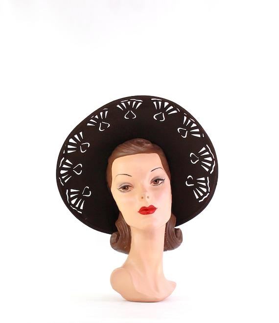 1940s Dark Brown Open Crown Cutaway Platter Hat  -