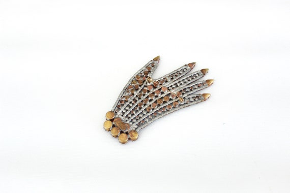Vintage Czech Rhinestone Hand Brooch - Vintage Ha… - image 5