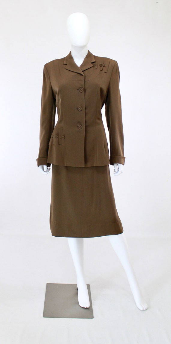RESERVED | 1940s Womens Brown Suit - 1940s Brown … - image 2