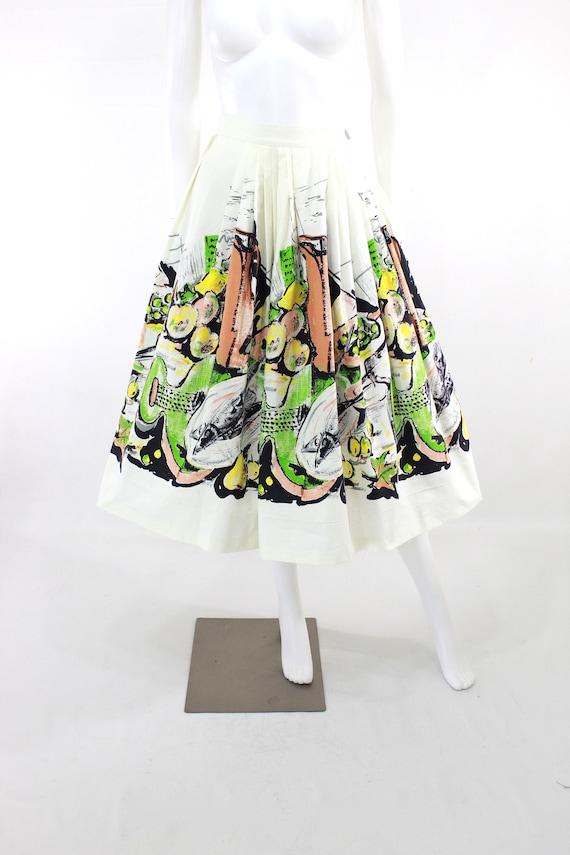 1950s Feast Novelty Print Skirt - 1950s Italian F… - image 9