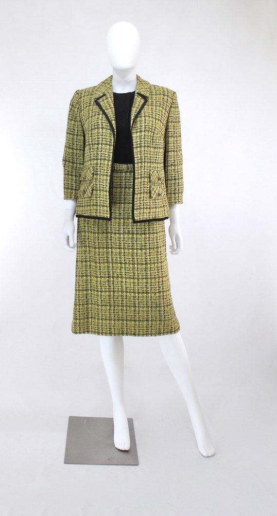 1960s Chartreuse Wool Suit - 1960s Chartreuse Sui… - image 3