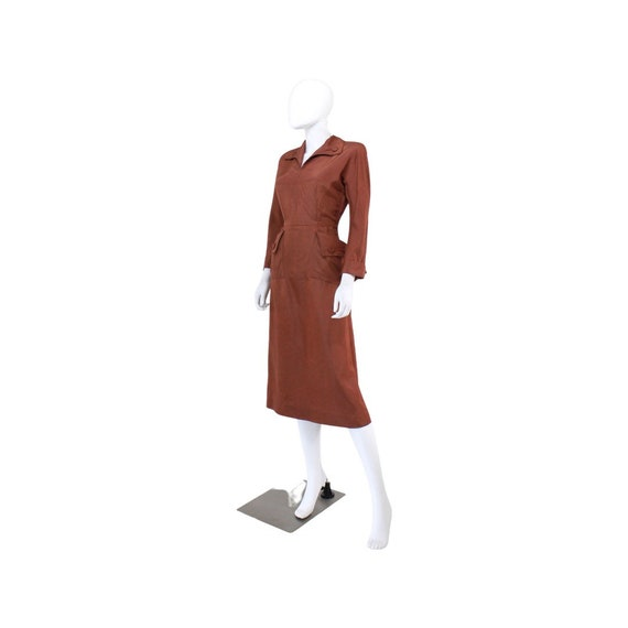 1940s Chestnut Brown Day Dress - 1940s Brown Dres… - image 6