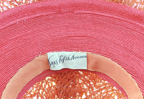 RESERVED | 1940s Red Platter Sun Hat - 1940s Oran… - image 10
