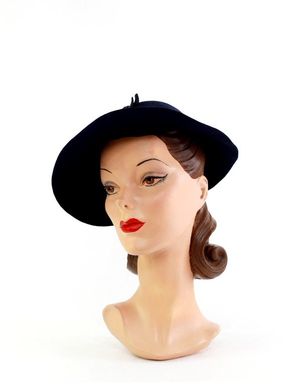 1940s Navy Blue Bonnet Fedora - 1940s Navy Blue F… - image 7