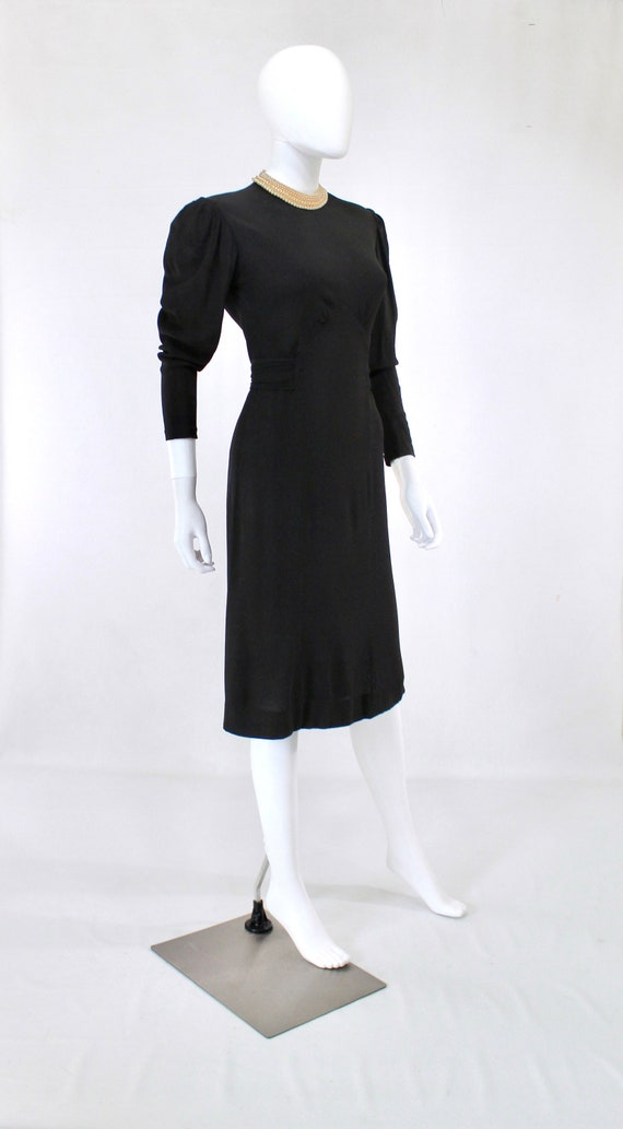 Late 1930s Black Crepe Dress with Pearl Collar - … - image 7