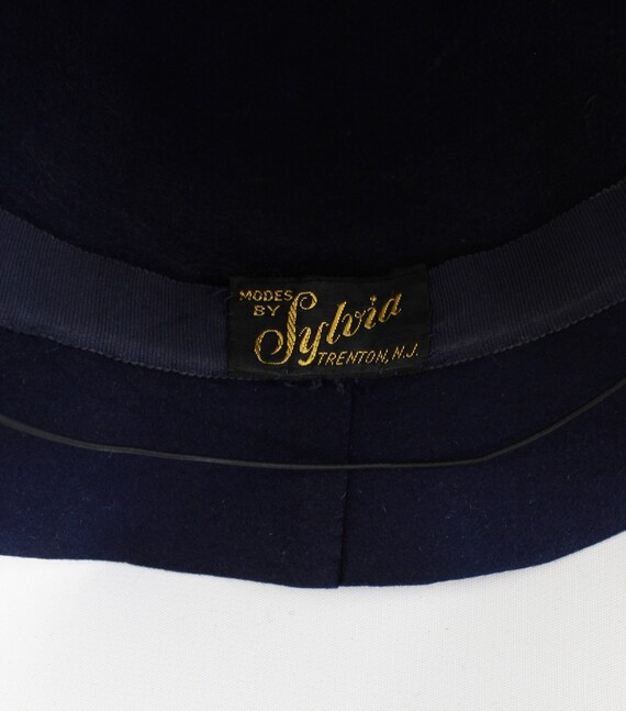 1940s Navy Blue Bonnet Fedora - 1940s Navy Blue F… - image 9