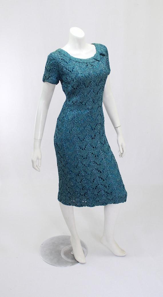 1950s Wiggle Dress - 1950s Teal Dress - 1950s Rib… - image 6