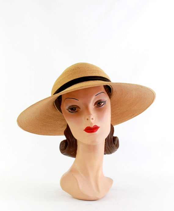 1940s Natural Straw Platter Sun Hat - 1940s Straw… - image 3
