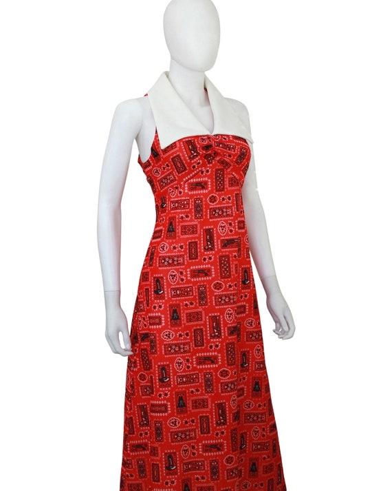 1970s Western Novelty Print Maxi Dress - 1970s Co… - image 5