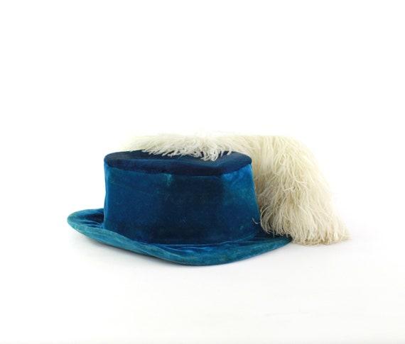 Edwardian Cerulean Blue Hat - Edwardian Velvet Ha… - image 8