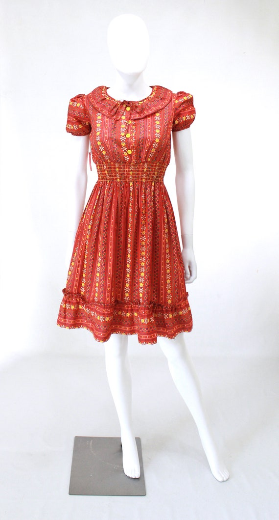 DEADSTOCK 1940s Puff Sleeve Dress - 40s Cotton Dr… - image 6