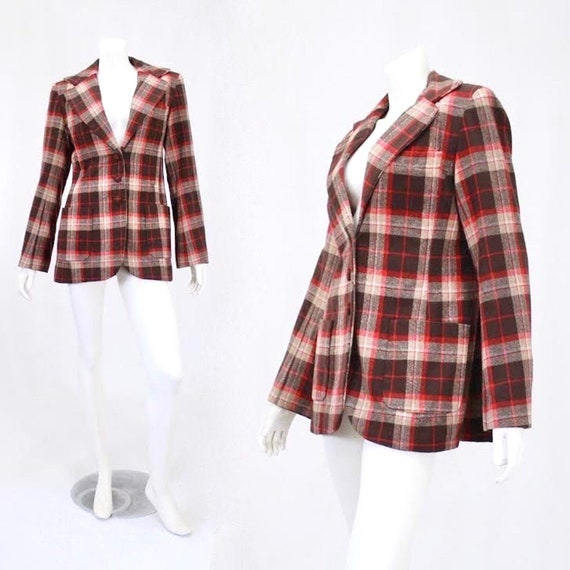 1940s Womens Blazer - 40s Plaid Jacket - Womens Pl