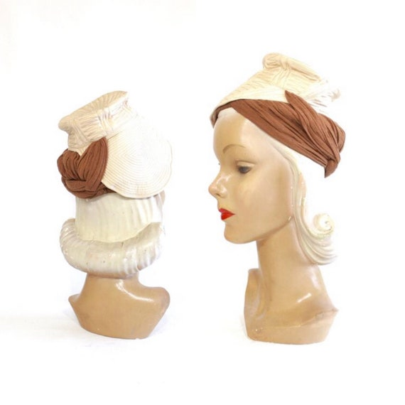 1930s Ivory Trapunto Turban with Camel Jersey Sash