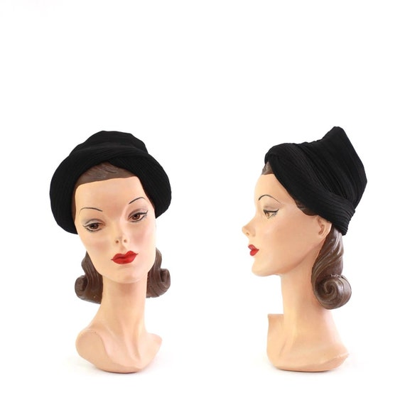 1940s Black Crepe Open Crown Turban - 1940s Bumper