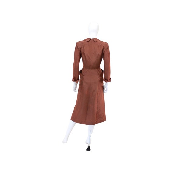 1940s Chestnut Brown Day Dress - 1940s Brown Dres… - image 8