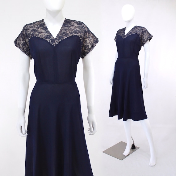 1950s Indigo Blue Cocktail Dress - 1950s Deep Purp