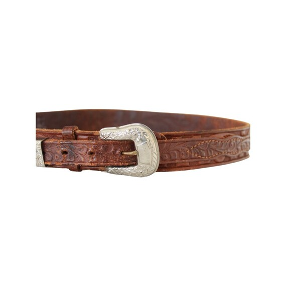 1940s/50s Tooled Leather Belt - 1950s Leather Bel… - image 5