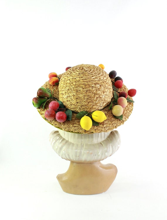 RESERVED   1940s Natural Straw Hat with Fruit - 19