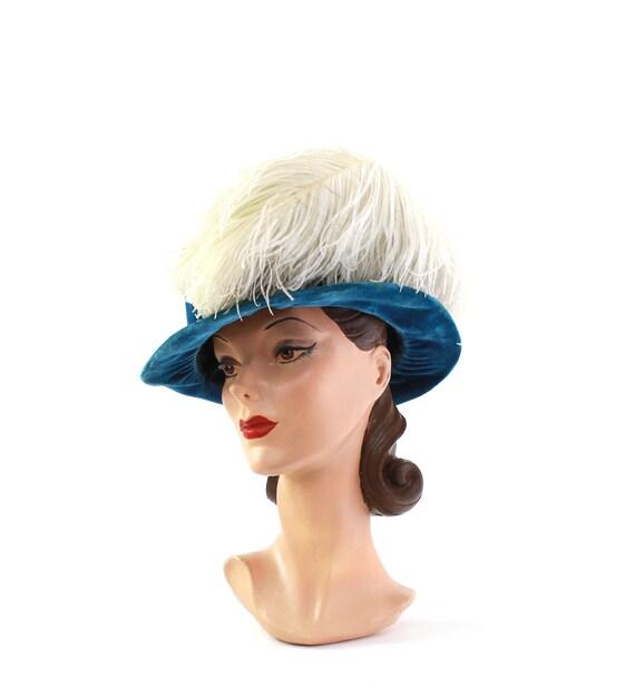 Edwardian Cerulean Blue Hat - Edwardian Velvet Ha… - image 2